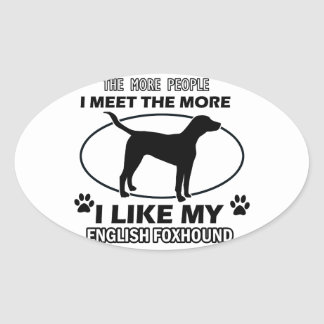 Funny english foxhound designs oval sticker