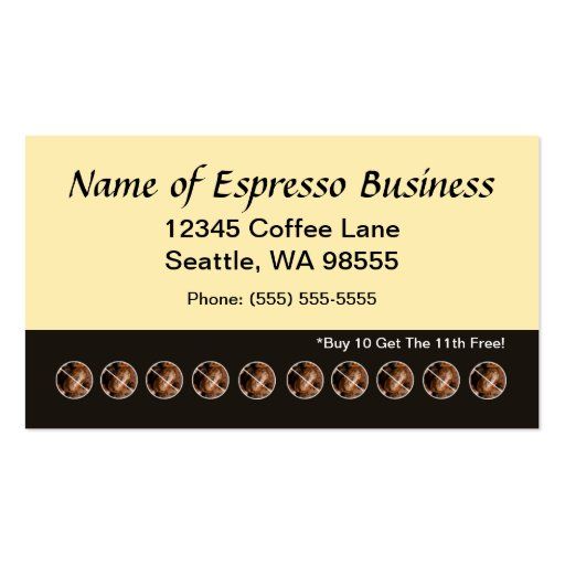Funny Espresso Punch Card Coffee Beans Business Card Template