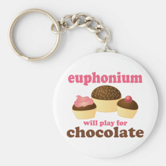 Funny Euphonium Will Play For Chocolate Basic Round Button Key Ring