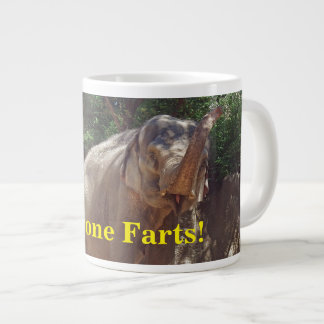 Funny Everyone Farts! Elephant Large Coffee Mug