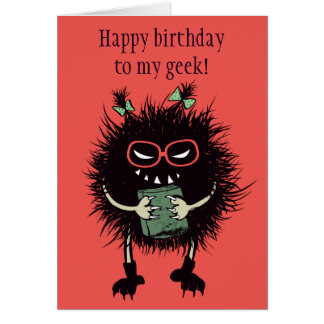Funny Evil Bug Student Loves Reading Geek Birthday Card