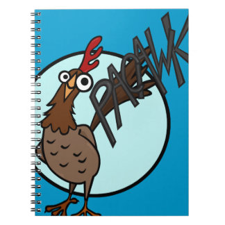 FUNNY EXCITABLE CHICKEN SPIRAL NOTEBOOK