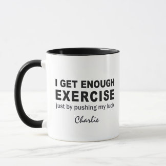 Funny Exercise custom name mugs