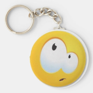 funny face basic round button key ring
