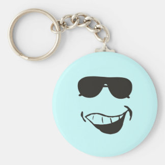 funny face! basic round button key ring