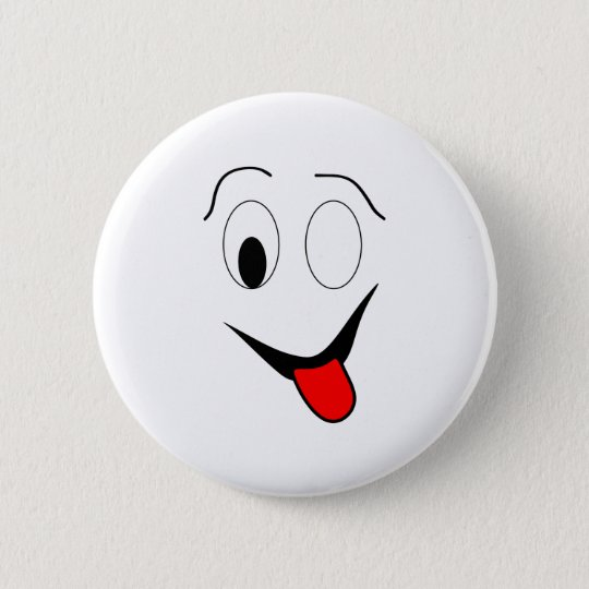 Funny face - black and red. 6 cm round badge
