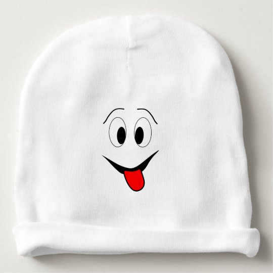 Funny face - black and red. baby beanie