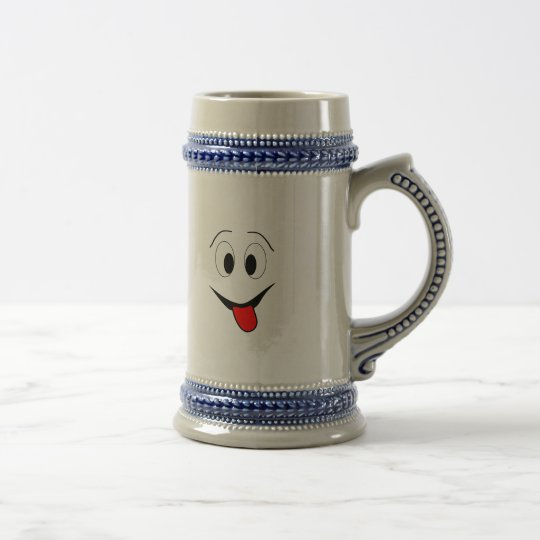 Funny face - black and red. beer stein