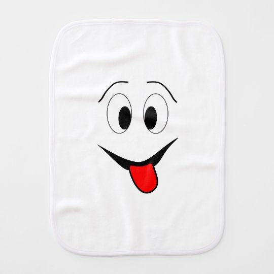 Funny face - black and red. burp cloth