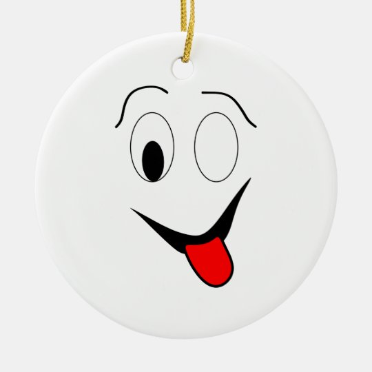 Funny face - black and red. ceramic ornament