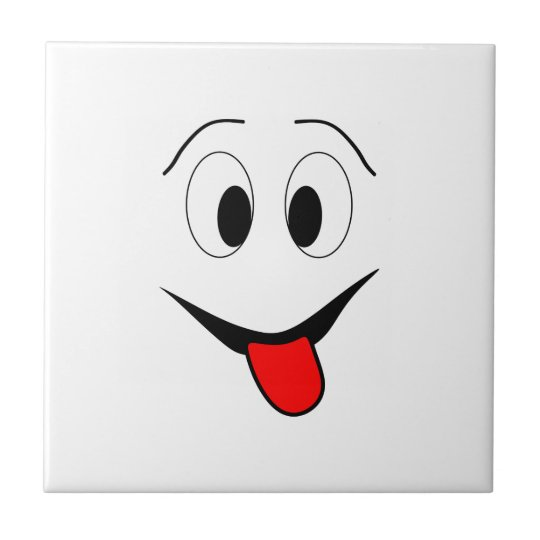 Funny face - black and red. ceramic tile