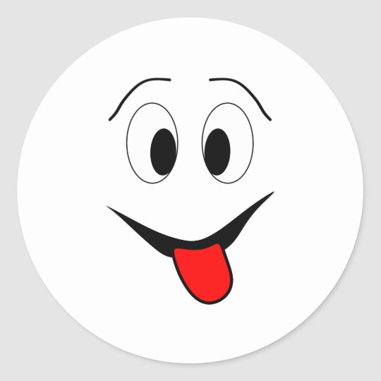Funny face - black and red. classic round sticker