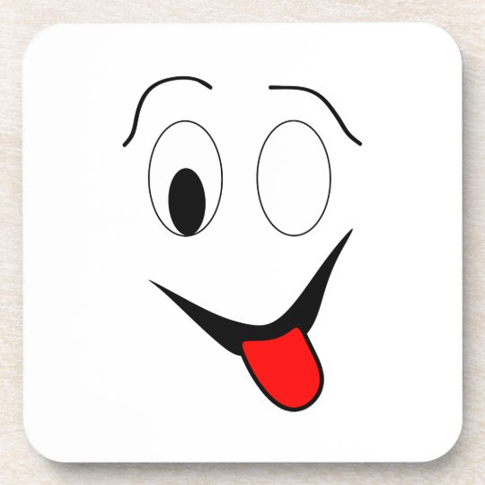Funny face - black and red. coaster