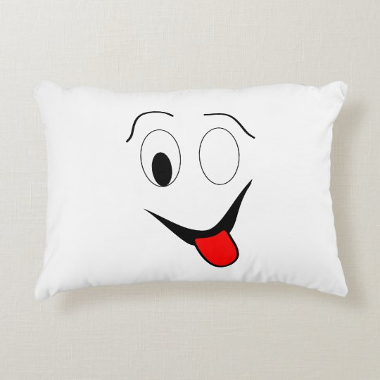Funny face - black and red. decorative cushion