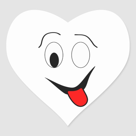 Funny face - black and red. heart sticker