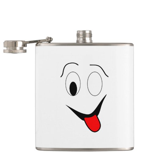 Funny face - black and red. hip flask