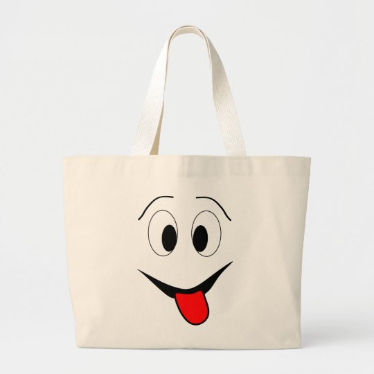 Funny face - black and red. large tote bag