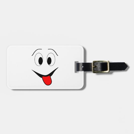 Funny face - black and red. luggage tag