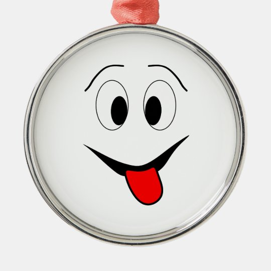 Funny face - black and red. metal ornament