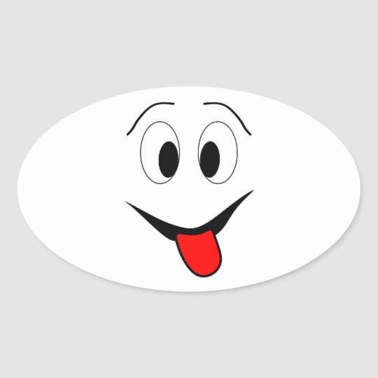 Funny face - black and red. oval sticker