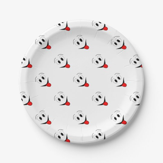 Funny face - black and red. paper plate
