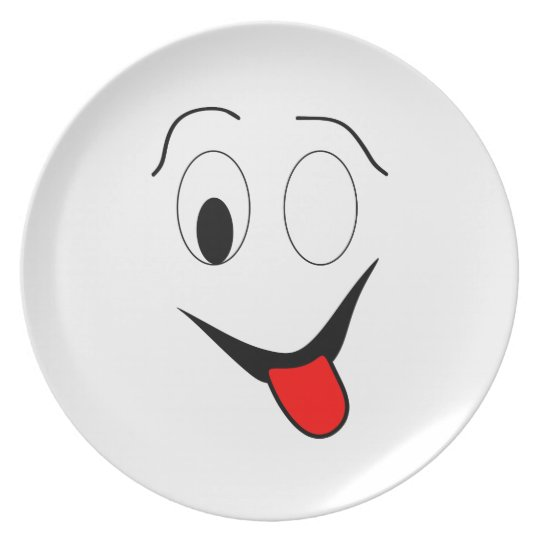 Funny face - black and red. plate