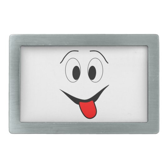 Funny face - black and red. rectangular belt buckle