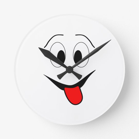 Funny face - black and red. round clock