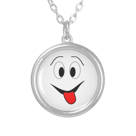 Funny face - black and red. silver plated necklace