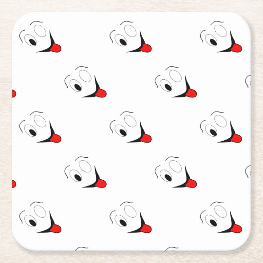 Funny face - black and red. square paper coaster
