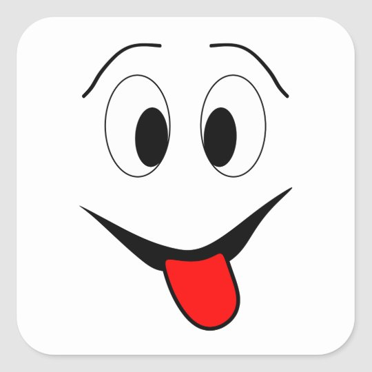 Funny face - black and red. square sticker