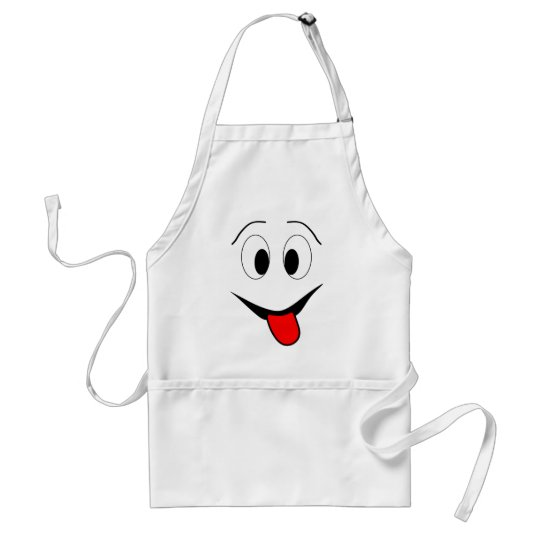 Funny face - black and red. standard apron