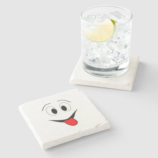 Funny face - black and red. stone coaster