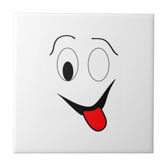 Funny face - black and red. tile