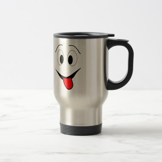 Funny face - black and red. travel mug