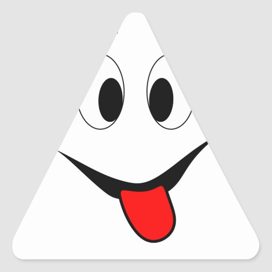 Funny face - black and red. triangle sticker
