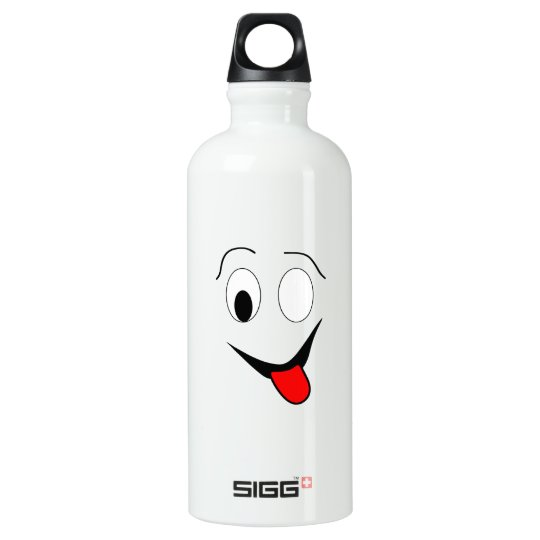 Funny face - black and red. water bottle