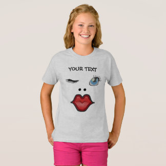 funny face of woman sending a kiss T-Shirt