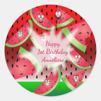 Funny Face Watermelon Classic Round Sticker