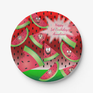 Funny Face Watermelon Design Paper Plate