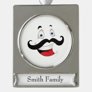 Funny Face with Mustache Silver Plated Banner Ornament