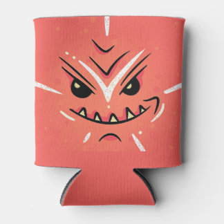 Funny Face with Smirky Smile - Red Can Cooler