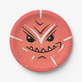 Funny Face with Smirky Smile - Red Paper Plate