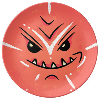 Funny Face with Smirky Smile - Red Plate