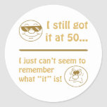 Funny Faces 50th Birthday Gag Gifts Round Sticker