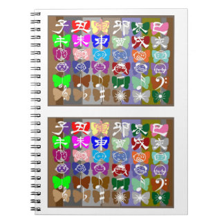 Funny Faces Chinese Characters and Sparkles Spiral Notebooks