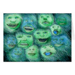 Funny Faces. Fun Cartoon Monsters. Green.