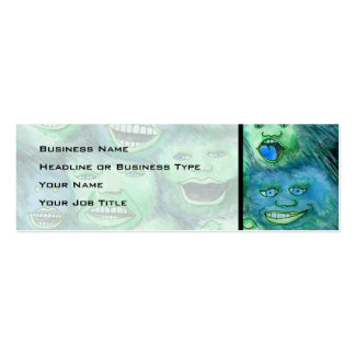 Funny Faces. Fun Cartoon Monsters. Green. Business Cards