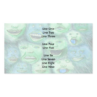 Funny Faces. Fun Cartoon Monsters. Green. Business Card Template