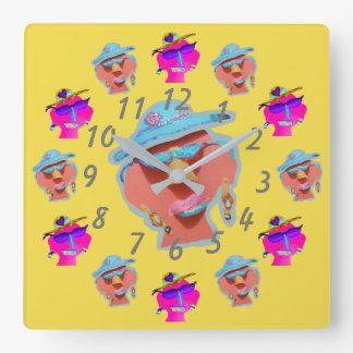 Funny Faces Happy Yellow Pop Art Clock